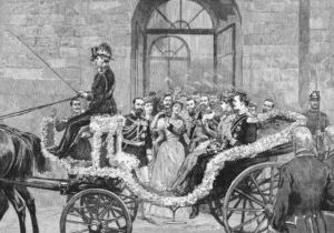The departure of the bride and bridegroom to the castle of Kranichstein. Engraving published by the Graphic in 1894.